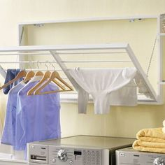 organization - great idea for a laundry room drying rack!