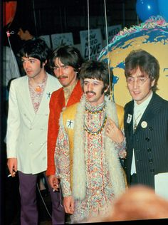 """The Beatles are seen backstage during a break in rehearsal for the live broadcast of their song """"All You Need Is Love"""" on the Our World program at EMI Studios in London, June 1967"""