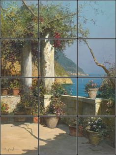 Amalfi Coast Tile Mural for colorful kitchen wall mural