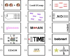 Picture                                                                                                                                                                                 More Word Brain Teasers, Printable Brain Teasers, Brain Teasers With Answers, Brain Teaser Games, Brain Teaser Puzzles, Brain Games, Rebus Puzzles, Logic Puzzles, Word Puzzles