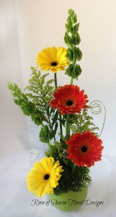 Rose of Sharon Floral Designs Daisy and Bells of Ireland Arrangement – 2019 - Floral Decor Creative Flower Arrangements, Church Flower Arrangements, Ikebana Arrangements, Church Flowers, Beautiful Flower Arrangements, Flower Centerpieces, Flower Decorations, Floral Arrangements, Beautiful Flowers