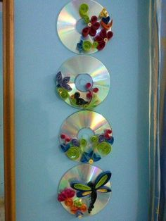 Best 11 Quilling on old cds Old Cd Crafts, Crafts To Make, Crafts For Kids, Paper Crafts, Paper Quilling Designs, Quilling Patterns, Quilling Art, Recycled Cds, Recycled Crafts