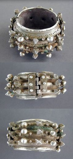 "Mauritania or south Morocco | Old Moor or Tuareg three row hinged bracelet | Excellent alloy of silver, decorated with small "" pyramids "" and balls. 