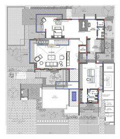 Plano de casa moderna de tres pisos - tercer nivel