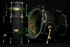 Ghost Black Stain w/ Coke Bottle Green Acrylic Center and Brass Hardware #drums #SJC