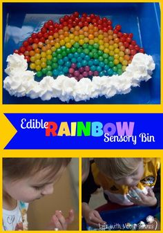 Hands-on Rainbow Fun! A taste sensory bin filled with a beautiful rainbow catches any kids attention. Even the little balls are safe to eat!