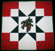 Advanced Embroidery Designs. Free Projects and Ideas.Quilted table topper with pine cone embroidery.