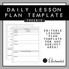 This editable lesson plan template is completely editable and customizable for any subject area! #lesson #lessonplan #curriculum #tpt #freebie # Middle School Teachers, High School, Classroom Organization, Classroom Management, Daily Lesson Plan, Powerpoint Lesson, Education Information, Ways Of Learning, Lesson Plan Templates