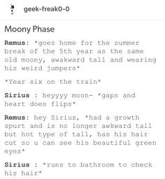Sirius already knows his hair looks gorgeous because as usual he spent 45 minutes in the morning in front of the mirror. James: Sirius get out of the bathroom! I need to use it too. Lily will see me again after a whole summer! Sirius: Prongs she is gonna ignore you again. Does it even matter how your hair looks while getting rejected? Give me 5 minutes more. I need get a perfect look so that McGonagall can't give detention to my beautiful face on the first day.