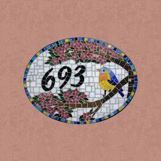 Número em mosaico Pássaro na cerejeira