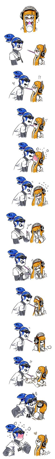 [splatoon] happy pocky day by ZozaZero on DeviantArt It went on late into the night at the nearby Splatfest event, as the music wound down and the lights flickered off one at a time. The two inklings, one having long blue hair while the other having … Splatoon Memes, Splatoon 2 Art, Splatoon Comics, Nintendo Splatoon, Cute Comics, Funny Comics, Image Zelda, Pocky Game, Callie And Marie