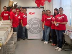 Aon Global Service Day 2013: Aon Affinity colleagues sorted/shelved donations for Irving Cares-Food Pantry. Volunteers donated 207 pounds of food. — at Irving, TX.