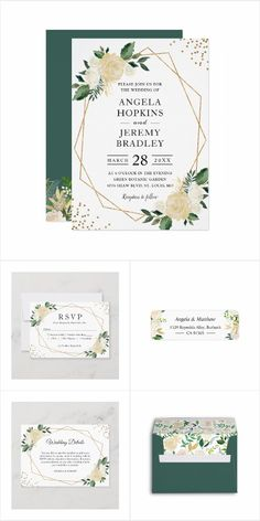 A Modern Gold Frame Ivory Green Floral Invitations Suite, with items from Invitations to RSVP card, Thank You Card, Save the Date Card, Information Card and more. Summer Wedding Invitations, Floral Wedding Invitations, Floral Invitation, Invite, Wedding Ties, Save The Date Cards, Thank You Cards, Rsvp, Ivory