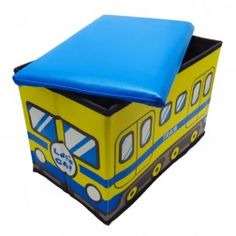 Caixa Organizadora Puff Infantil Trem Amarelo