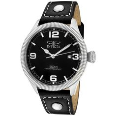 Invicta Men's 1460 'Vintage Collection' Stainless Steel and Black Leather Watch >>> See this great product.