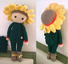 Girasole Sam bambola fiore fatto a mano da Marta A - Istruzioni per uncinetto by Zabbez