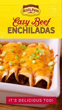 Easy Enchilada Recipe, Easy Beef Enchiladas, Ground Beef Enchiladas, Chicken Enchilada Casserole, Taco Casserole, Tacos, Easy Casserole Recipes, Mexican Food Recipes, Easy Mexican Dishes