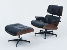 1956, Eames, Lounge chair 670 and ottoman 671. Demonstrated modern mass-produced furniture can be both comfortable and luxurious.