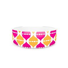 Kess InHouse Apple Kaur Designs Moroccan Dreams Pet Bowl 7Inch Pink Orange *** Continue to the product at the image link.