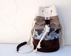 Tribal Print Bucket Bag Aztec Bag Hand Painted Purse Beach Bag Black and White Canvas Chocolate Suede Purse Tote via Etsy