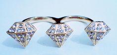 Anel duplo dourado diamante strass prata