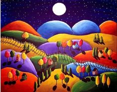 Peace on Earth Landscape Colorful Whimsical Folk Art Giclee Print via Etsy