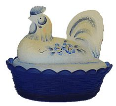 Fenton Art Glass Covered Hen on Nest Dishes and Roosters