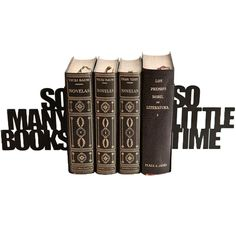 So Many Books Bookends Description For anyone who has ever felt overwhelmed by their to-read pile these metal bookends carry the phrase so many books