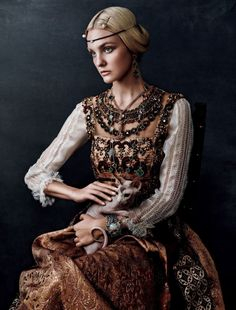 Caroline Trentini in Caroline's Symphony for Vogue Japan October 205 Shot by Giampaolo Sgura Inspired by Classic Paintings. l #cats #hautecouture