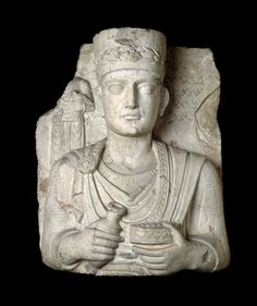 Limestone bust of a priest from a funerary relief. Palmyra. 50 - 150 A.D. | The British Museum