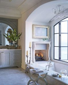 """2,273 Likes, 62 Comments - Lavender Hill Interiors (@lavenderhillinteriors) on Instagram: """"French country style - a fireplace in the bathroom - anyone?? Image via @HouseBeautiful."""""""