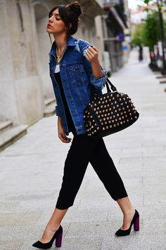 Black Dungaree ( Denim Jackets & T-Shirts )-first time I think I saw thick heels I liked