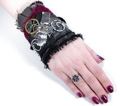 Steampunk Cuff Wrist Cuff Black LEATHER Red Velvet Silver WiNGED SCARAB Waltham Oval Watch Gears More - Steampunk Clothing by edmdesigns