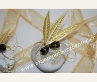 Χειροποίητη μπομπονιέρα φύλλα ελιάς Gold Necklace, Brooch, Jewelry, Gold Pendant Necklace, Jewlery, Jewerly, Brooches, Schmuck, Jewels