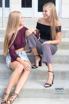 Princeton senior twin girls on steps in anoka, mn Twin Senior Pictures, Friend Senior Pictures, Sister Pictures, Girl Senior Pictures, Senior Picture Outfits, Senior Pics, Class Pictures, Sister Poses, Sibling Poses