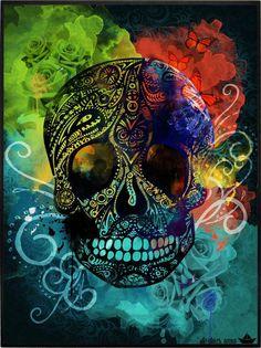 MUSTACHIOED SKULL Caveira Mexicana Tattoo, Aztecas Art, Azteca Tattoo, Badass Skulls, Colorful Skulls, Skull Artwork, Skulls And Roses, Chicano Art, Pink Wallpaper Iphone
