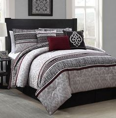 new luxurious 7piece king size bed comforter set bedroom bedding red u0026 gray
