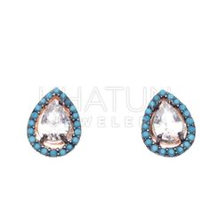 High Quality 925 Sterling Silver Elegant Turkish Nano Turquoise Earrings #Grandbazaarjewelers #Stud