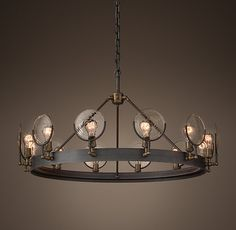 "Gaslight Lens Chandelier 42"" Restoration Hardware - RH -"