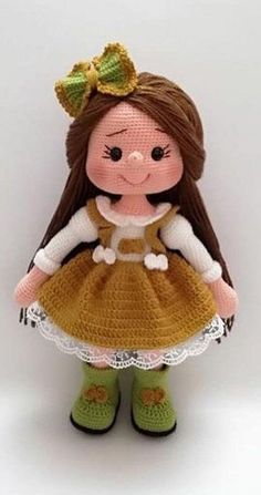 Doll Amigurumi Free Pattern, Crochet Amigurumi Free Patterns, Crochet Doll Pattern, Amigurumi Doll, Knitting Dolls Free Patterns, Cute Crochet, Crochet Baby, Crochet Summer, Beautiful Crochet