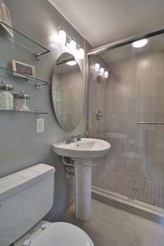 Contemporary 3/4 Bathroom with Gatco Designer Chrome Glass Bathroom Shelf, frameless showerdoor, Pedestal Sink, High ceiling