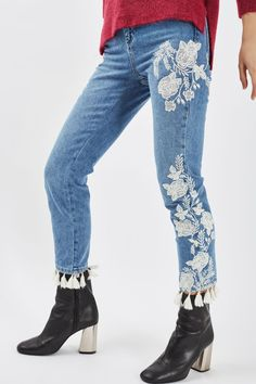 MOTO Embroidered Straight Leg Jeans - New In This Week - New In - Topshop