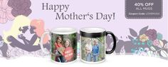 40% off all photo mugs at SmileBooks till the end of May! #photo mugs #photography #prints #Mother's Day gifts #coffee mugs #sports bottles #latte mugs