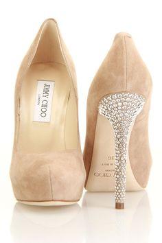 nude velvet heels w/ diamond-studded heels