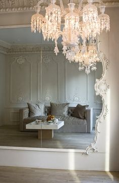 Ballet Studio Mirror with Baccarat chandelier. I really want a ballet studio in my home Chandelier Bougie, Baccarat Chandelier, Chandelier Lighting, Home Dance Studio, Dance Studio Design, Decoration Inspiration, Interior Inspiration, Ballet Room, Ballet Studio