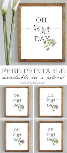 Oh Happy Day | Free spring printable available in 5 colors from http://maisondepax.com
