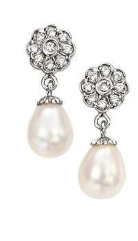 Sterling Silver, Freshwater Pearl and Cubic Zirconia Flower Earrings Pearl Drop Earrings, Flower Earrings, Wedding Earrings, Wedding Jewelry, Blue Topaz, Jewelry Gifts, Jewellery, Swarovski, Bling