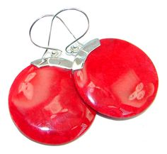 $42.95 big++Red+Fossilized+Coral+Sterling+Silver+earrings at www.SilverRushStyle.com #earrings #handmade #jewelry #silver #coral