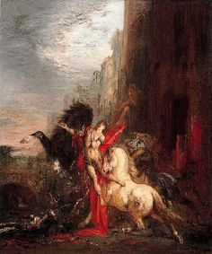"""... devoured by his horses)"""", Oil by Gustave Moreau (1826-1898, France"""