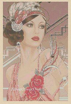Cross stitch chart Art Deco Lady No 121 FlowerPower37-uk FREE UK P&P---..